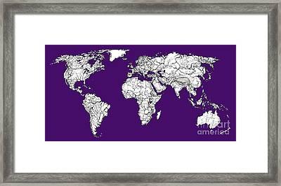 World Map In Purple Framed Print