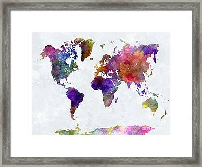 World Map In Watercolor  Framed Print by Pablo Romero
