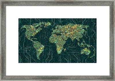 World Map Framed Print by Ktsdesign/science Photo Library