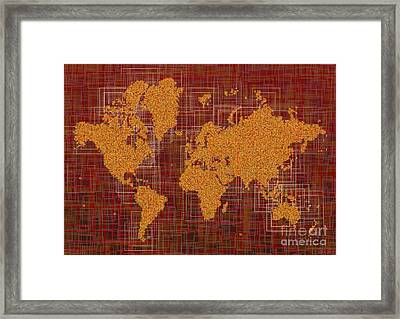 World Map Rettangoli In Orange Red And Brown Framed Print by Eleven Corners