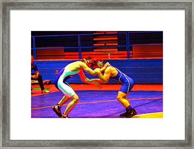 Wrestlers Grappling For A Hold By Earl's Photography Framed Print by Earl  Eells a