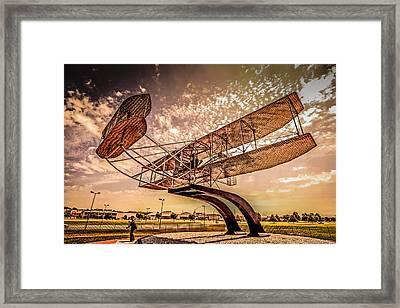 Wright Flyer At Sunset Framed Print