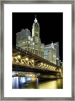 Wrigley Building At Night Framed Print by Sebastian Musial