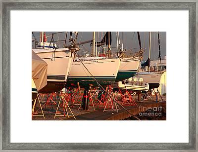 Yachts On Drydock Framed Print