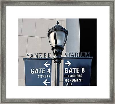 Yankee Stadium Sign Post Framed Print