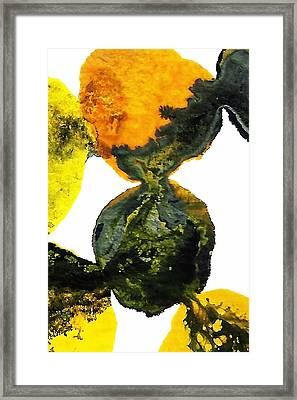 Yellow And Gray Interactions 8 Framed Print by Amy Vangsgard