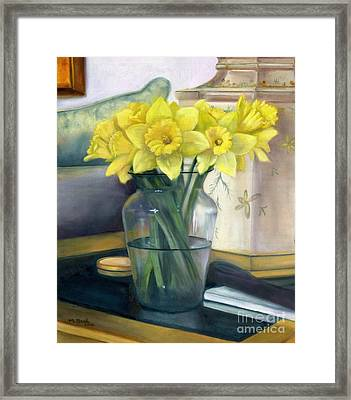 Yellow Daffodils Framed Print by Marlene Book