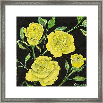 Framed Print featuring the painting Yellow Roses by Cathy Long