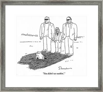 You Didn't See Nothin' Framed Print