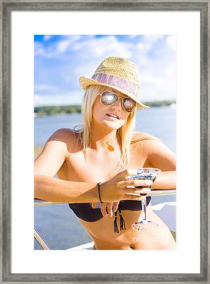 Young Attractive Female Holding Cocktail Drink Framed Print by Jorgo Photography - Wall Art Gallery