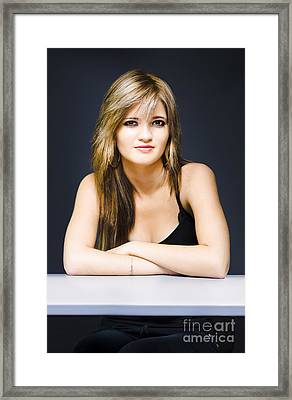Young Attractive Woman At Desk With Questions Framed Print