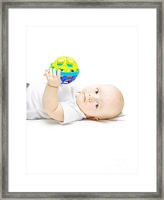 Young Baby Playing With Educational Toy Framed Print by Jorgo Photography - Wall Art Gallery
