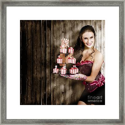 Young Baking Woman With Boutique Desert Platter Framed Print by Jorgo Photography - Wall Art Gallery