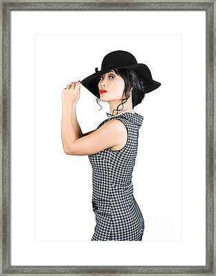 Young Beautiful Asian Brunette In Retro Dress Framed Print