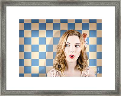 Young Beautiful Retro Girl Looking Surprised Framed Print