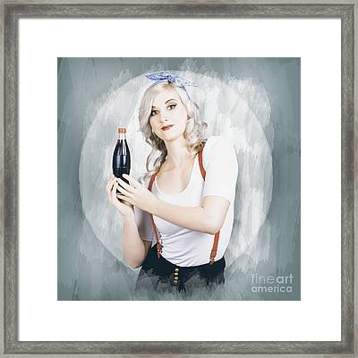 Young Beautiful Retro Lady Holding Soda Drink Framed Print