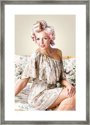Young Beautiful Woman. Immaculate Blond Hairstyle Framed Print
