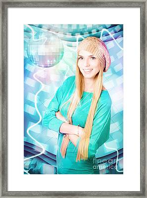 Young Blonde Party Woman At Winter Disco Event Framed Print by Jorgo Photography - Wall Art Gallery