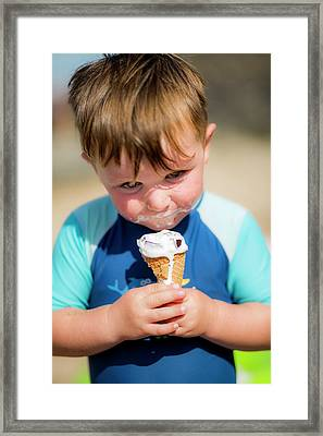 Young Boy Eating An Ice Cream Framed Print