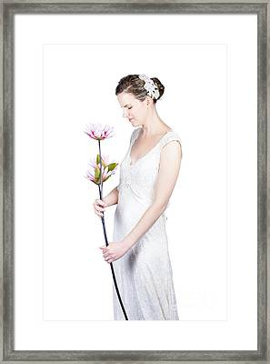 Young Bride With Flowers Framed Print by Jorgo Photography - Wall Art Gallery