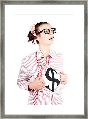 Young Businesswoman Super Hero Showing Dollar Sign Framed Print by Jorgo Photography - Wall Art Gallery