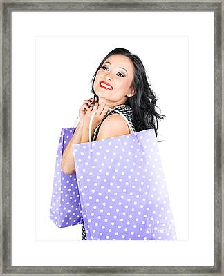 Young Chinese Woman Walking With Shopping Bags Framed Print by Jorgo Photography - Wall Art Gallery