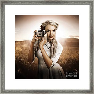 Young Female Photographer With Vintage Camera Framed Print