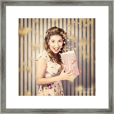 Young Girl At The Cinema Watching Halloween Movie Framed Print