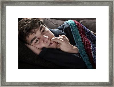 Young Man In Blanket Framed Print by Mauro Fermariello
