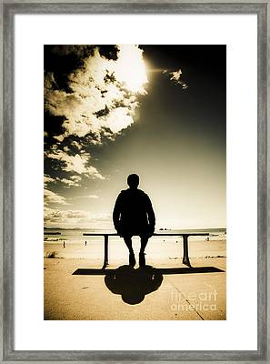 Young Man In Silhouette Sitting In The Sun Framed Print by Jorgo Photography - Wall Art Gallery