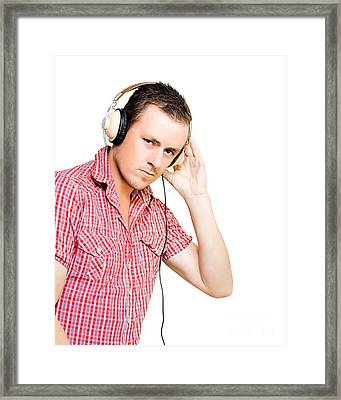 Young Man Wearing Headphones Framed Print by Jorgo Photography - Wall Art Gallery