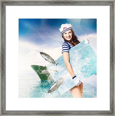 Young Navy Pin Up Model With Seafood Smorgasboard Framed Print by Jorgo Photography - Wall Art Gallery