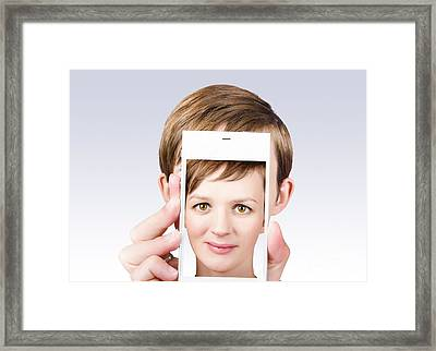 Young Pretty Woman Smiling On Smartphone Screen Framed Print by Jorgo Photography - Wall Art Gallery