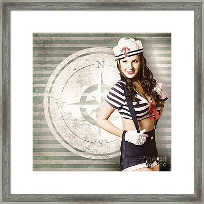 Young Sailor Pin Up Girl On Travel Cruise Compass Framed Print by Jorgo Photography - Wall Art Gallery
