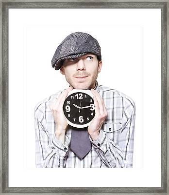 Young School Boy Watching Time While Holding Clock Framed Print by Jorgo Photography - Wall Art Gallery