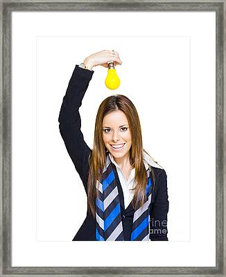 Young Smiling Business Woman With Creative Idea  Framed Print by Jorgo Photography - Wall Art Gallery
