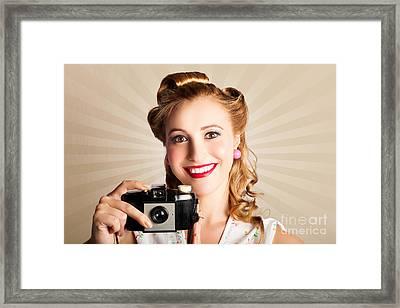 Young Smiling Vintage Girl Taking Photo Framed Print