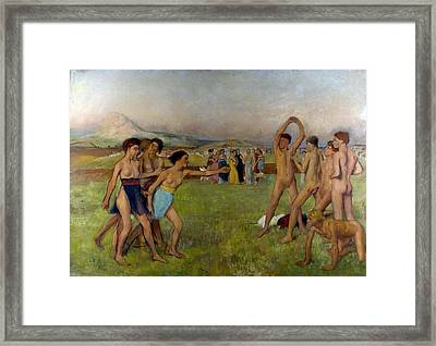 Young Spartans Exercising Framed Print by Edgar Degas