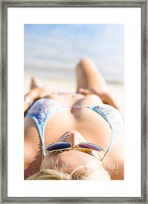 Young Sun Tanning Lady Wearing Sunglasses At Beach Framed Print by Jorgo Photography - Wall Art Gallery