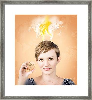 Young Woman Breaking Truth On Healthy Eating Framed Print