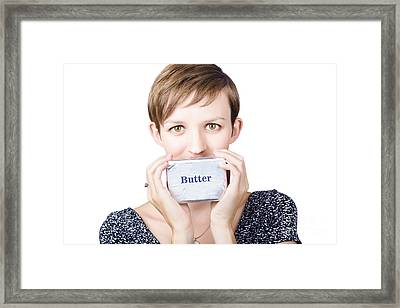 Young Woman Holding A Block Of Butter Framed Print