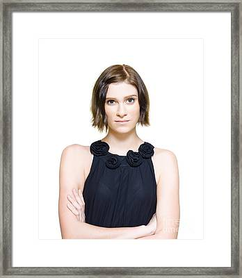 Young Woman Looking Nervous And Anxious Framed Print by Jorgo Photography - Wall Art Gallery