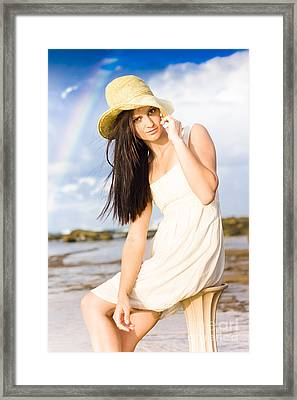 Young Woman Relaxing By The Sea Framed Print by Jorgo Photography - Wall Art Gallery