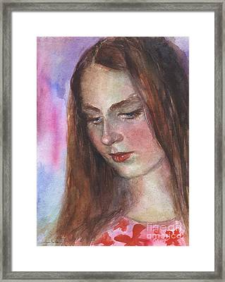 Young Woman Watercolor Portrait Painting Framed Print