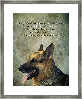 Your Friend Your Partner Your Defender Framed Print by David Dehner