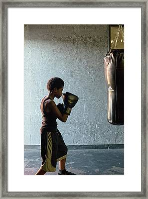 Youth Boxing Gym Framed Print by Jim West