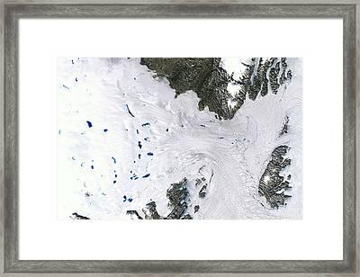 Zachariae Isstrom Glacier Framed Print by Nasa Earth Observatory/usgs