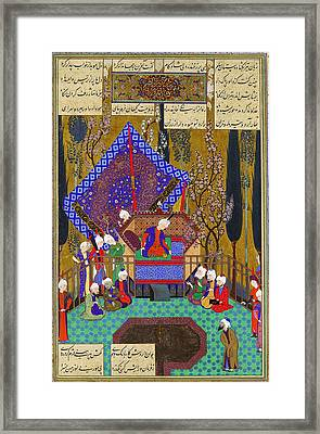 Zal Consults The Magi Folio From The Shahnama Framed Print by Celestial Images