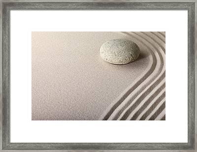 Zen Sand Stone Garden Framed Print by Dirk Ercken