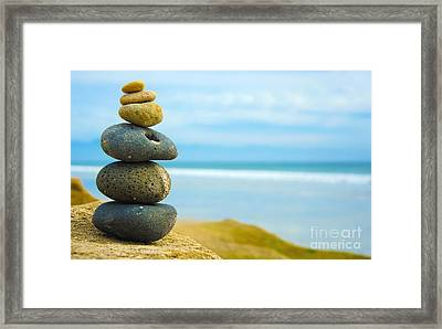 Zen Stone Stacked Together Framed Print